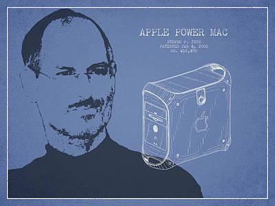 Steve Jobs Power Mac Patent - Light Blue Poster by Aged Pixel