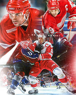 Steve Yzerman Collage Poster by Mike Oulton