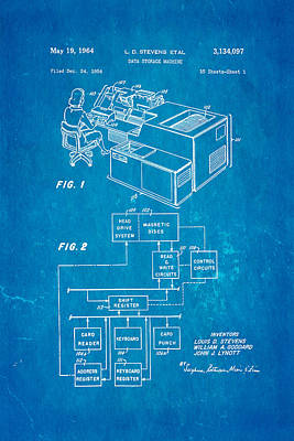 Stevens Data Storage Machine Patent Art 1964 Blueprint Poster by Ian Monk