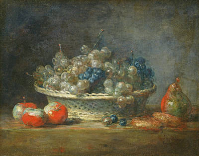 Still Life Grape Basket With Three Apples, A Pear And Two Marzipans, 1764 Oil On Canvas Poster by Jean-Baptiste Simeon Chardin