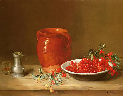 Still Life Of Cherries In A Bowl Poster by Antoine Vollon