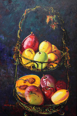 Still Life Of Tropical Fruits Bodegon Tropical Poster by Estela Robles Galiano