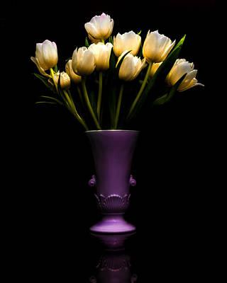 Still Life - White Tulips Poster by Jon Woodhams