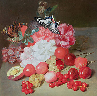 Still Life With Butterflies Poster by Louis Leopold Boilly