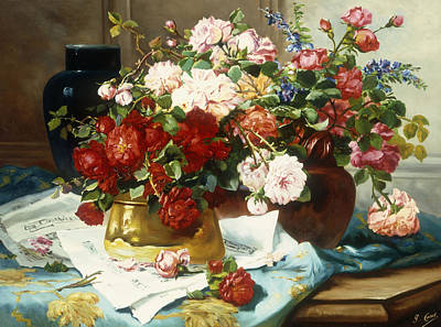 Still Life With Flowers And Sheet Music Poster by Jules Etienne Carot