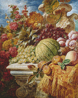 Still Life With Fruit Poster by George Lance