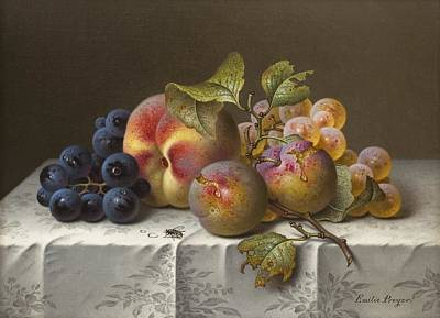 Still Life With Grapes And Peaches Poster by Celestial Images