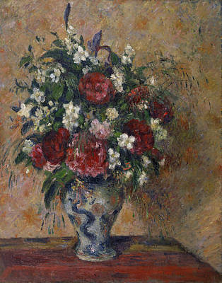 Still Life With Peonies And Mock Orange Poster by Camille Pissarro