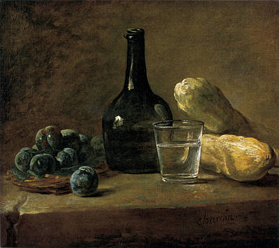 Still Life With Plums Poster by Jean-baptiste-Simeon Chardin