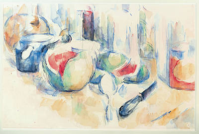 Still Life With Sliced Open Watermelon Poster by Paul Cezanne