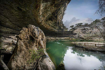 Still Waters At Hamilton Pool Poster by David Morefield
