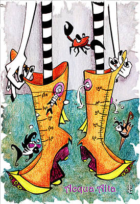 Stivali Acqua Alta - Children Book Illustration - Venezia Poster by Arte Venezia