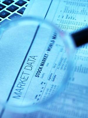 Stock Market Figures And Magnifying Glass Poster by Tek Image