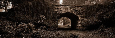 Stone Bridge Over A Leaf Covered Path Poster by Chris Bordeleau