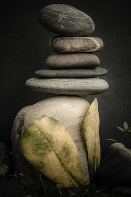 Stone Cairns V Poster by Marco Oliveira