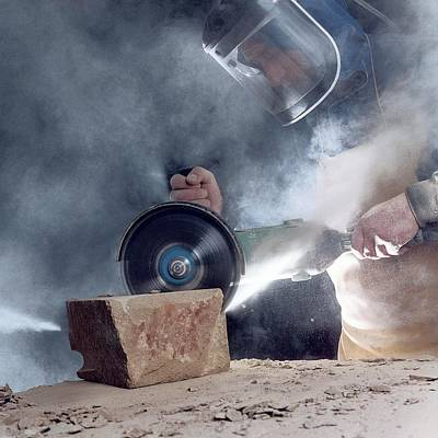 Stone Masonry Dust Exposure Poster by Crown Copyright/health & Safety Laboratory Science Photo Library