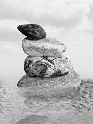 Stones In Water Black And White Poster by Gill Billington