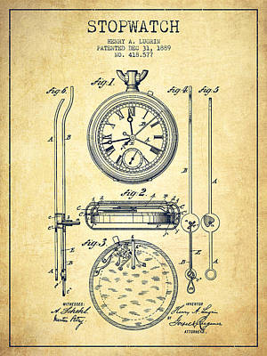 Stopwatch Patent Drawing From 1889 -vintage Poster by Aged Pixel