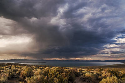 Storm Cell Over Mono Lake Poster by Cat Connor