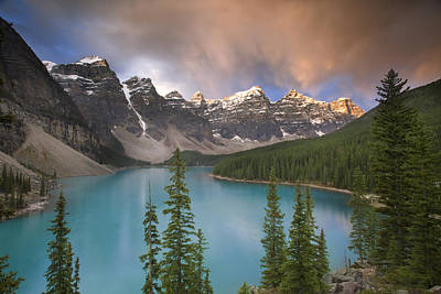 Stormy Weather Over Moraine Lake Poster by Quynh Ton
