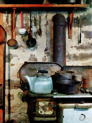 Stove With Tea Kettle Poster by Susan Savad