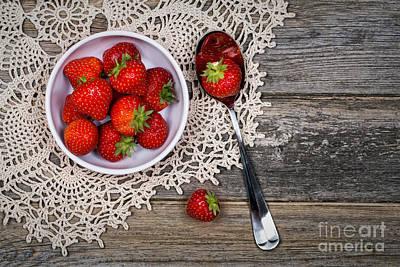 Strawberry Vintage Poster by Jane Rix