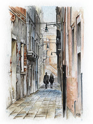 Street In Venice - Watercolor - Yakubovich Poster by Daniel Yakubovich