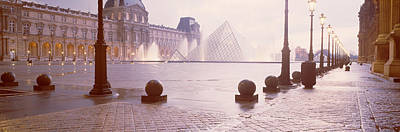 Street Lights Lit Up At Dawn, Louvre Poster by Panoramic Images