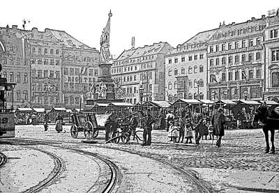 Poster featuring the photograph Street Scene Dresden Germany C1900 Vintage Poster Image by A Gurmankin