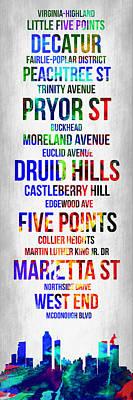 Streets Of Atlanta 1 Poster by Naxart Studio