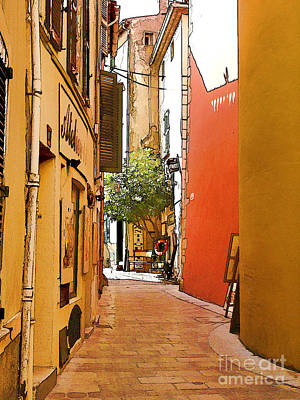 Streets Of Old St Tropez 2 Poster by Rod Ohlsson