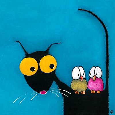 Stressie Cat And The Whimsical Birds Poster by Lucia Stewart