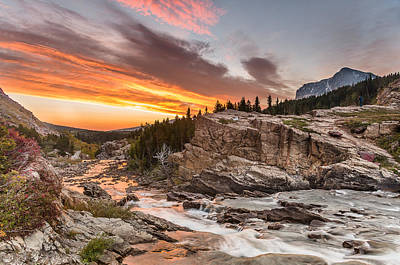Stretch Of Dawn Over Swiftcurrent Creek Poster by Greg Nyquist