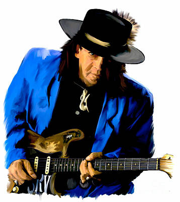 Strutting The Blues II  Stevie Ray Vaughan Poster by Iconic Images Art Gallery David Pucciarelli