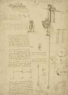 Study And Calculations For Determining Friction Drawing With Notes On Gardens Of Milanese Palace Poster by Leonardo Da Vinci