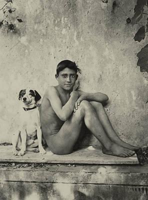 Study Of A Nude Boy With Dog Poster by Wilhelm von Gloeden