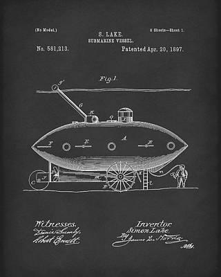 Submarine By Lake 1897 Patent Art Black Poster by Prior Art Design
