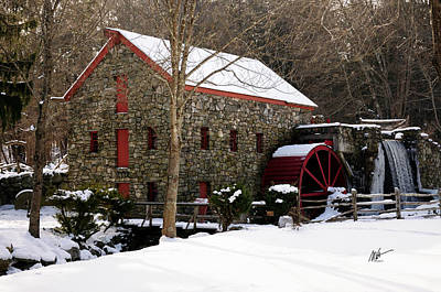 Sudbury Grist Mill In Winter Poster by Mark Valentine