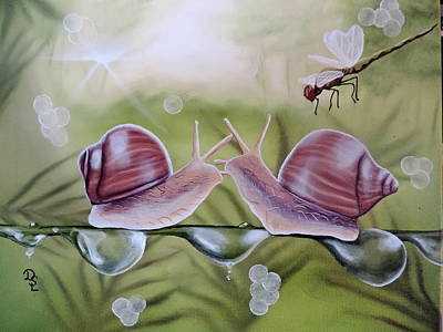 Sue And Sammy Snail Poster by Dianna Lewis