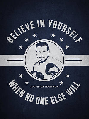 Sugar Ray Robinson - Navy Blue Poster by Aged Pixel