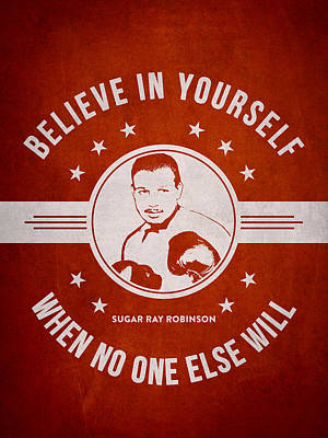 Sugar Ray Robinson - Red Poster by Aged Pixel