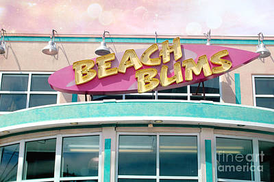 Summer Cottage Beach Bums Myrtle Beach Art Deco Sign Poster by Kathy Fornal
