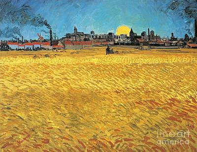 Summer Evening Wheat Field At Sunset Poster by Vincent van Gogh