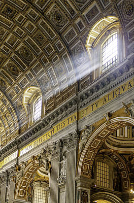 Sun Rays In St. Peter's Basilica Poster by Susan  Schmitz