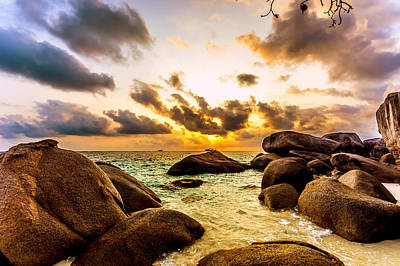 Sun Sand Sea And Rocks Poster by Jijo George