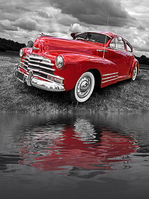 Sundown By The Lake - 1948 Red Chevy Poster by Gill Billington