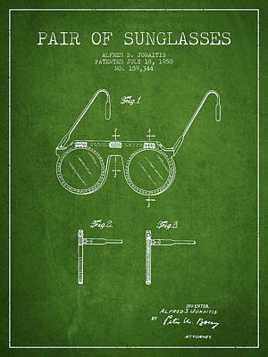 Sunglasses Patent From 1950 - Green Poster by Aged Pixel