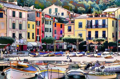 Sunny Portofino - Italy Poster by Linda  Parker