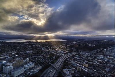 Sunrays Clouds Illumination Poster by Mike Reid
