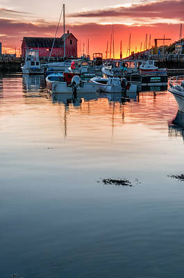Sunrise At Rockport Harbor - Cape Ann Poster by Thomas Schoeller